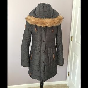 NWOT Naketano Long Puffer Coat Lt Black Med